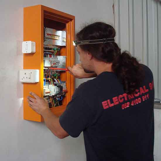 Colin connecting up 3 phase electrical distribution.